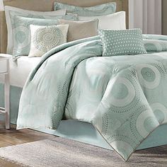 Baxter Blue Seven Piece Queen Comforter Set Madison Park Comforter Set Comforter Sets Bedd Beach Comforter, Queen Comforter Sets, Cool Comforters, Bedspreads, Dreams Beds, Linens And More, Bedding Sets Online, Affordable Bedding, Beautiful Bedrooms