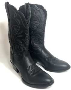 Ariat ATS Western Cowboy Boots Round Toe Black Leather Heritage 15770 Womans 9.5 #Ariat #CowboyWestern #Casual