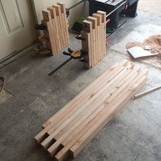 A glue up of a simple box joint 2x4 bench.