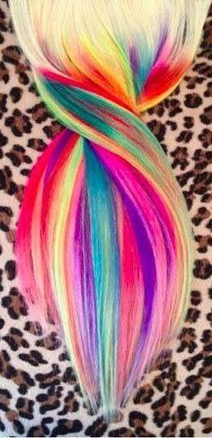 Beautiful rainbow hair dip dye