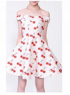 fd009874 LAUREL Cherry Printed Off-Shoulder Dress Latest Street Fashion, 10 Off,  Dress P
