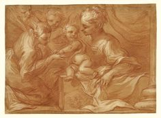 Mystic Marriage of Saint Catherine; Bartolomeo Biscaino (Italian, 1632 - 1657); Italy; about 1655; Red chalk with white gouache heightening on tan paper; 28.9 x 39.8 cm (11 3/8 x 15 11/16 in.); 86.GB.6; J. Paul Getty Museum, Los Angeles, California