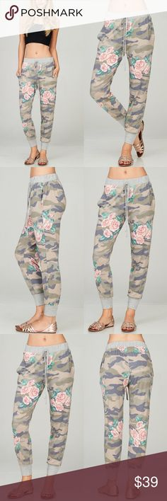 OLIVIA Floral Print Joggers - OLIVE How cute are these camo Floral Print joggers! PRICE FIRM Bellanblue Pants Track Pants & Joggers