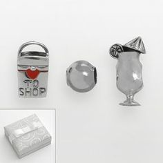 """Individuality beads sterling silver """"love to shop"""" shopping bag, daiquiri & spacer bead set on shopstyle.com"""