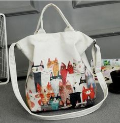 Cartoon Cat Canvas Tote Bag in 2 Colors – Kucicat