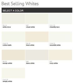 "Benjamin Moore Best Selling Whites- another pinner wrote"" cloud white ..."