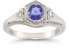 ApplesofGold.com - Tanzanite and Diamond Heart Ring in 14K White Gold