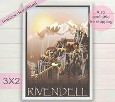 Rivendell city movie digital poster  by ArtsAndTravelPrints
