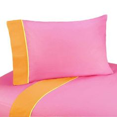 3pc Twin Sheet Set for Groovy Bedding Collection by Sweet Jojo Designs by Sweet Jojo Designs. $59.99. This design has matching accessories such as mobiles, lamp shades, window treatments and wall decor.. Groovy Twin Sheet Set-Solid pink with orange trim and yellow piping. 1 Flat Sheet, 1 Fitted Sheet, 1 Pillow Case. Machine Washable. Twin Dimensions: Fitted Sheet (39 in x 75 in), Flat Sheet (66 in x 96 in) Pillow Case (20 inx 30 in). Sweet Jojo Designs Groovy 3pc...