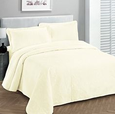 """Fancy Collection 3pc Luxury Bedspread Coverlet Embossed Bed Cover Solid Off White New Over Size 118""""x106"""" King/california King //http://bestadjustablebed.us/product/fancy-collection-3pc-luxury-bedspread-coverlet-embossed-bed-cover-solid-off-white-new-over-size-118x106-kingcalifornia-king/"""