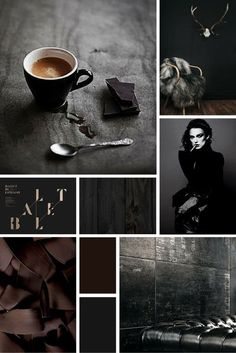 Midweek Moodboard: 'Black Coffee' (deep, rich chocolate brown and grey colour palette for your design inspiration) inspiration design design inspiration web design graphic design web design inspiration interior design best logo Design Web, Website Design, Graphic Design, 2017 Design, Alphabet Design, Beste Logos, Color Bordo, Black Color Palette, Color Black