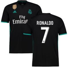 Ronaldo Real Madrid adidas 2017/18 Away Replica Patch Jersey - Black