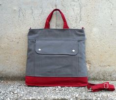Men - Project Messenger Bag in Olive Grey with Carmine Red - UNISEX BAG / Tote Bag / For her / For men / For women / For him