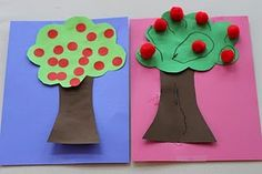 Fall apple tree craft/activity- provide small red Pom-Pom balls or round red stickers, and sing 'way up high in the apple tree. Toddler Themes, Toddler Art, Toddler Crafts, Crafts For Kids, Arts And Crafts, Fall Preschool, Preschool Projects, Preschool Activities, Apple Theme