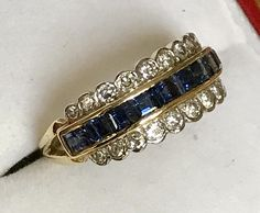 A wonderful vintage 18ct gold and platinum Sapphire & Diamond ring - 1983