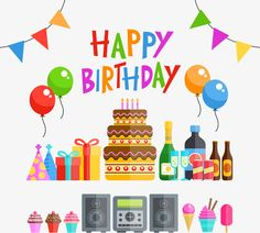 Birthday party vector material, AI Material, Vector, Birthday PNG and Vector