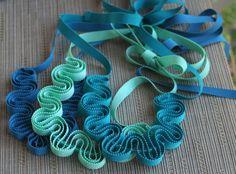 Ribbon necklace in aqua grosgrain ribbon and by CarolynWaweru, $24.00