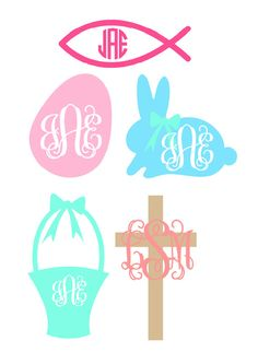 Monogrammed Easter Decal Choose any design and colors perfect for basket, bucket, pail... Christian fish, cross, egg, bunny rabbit