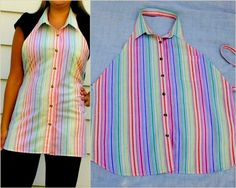 Apron Shirts - use old shirts, with/out collars, mis/match them. Fabric Crafts, Sewing Crafts, Sewing Projects, Craft Projects, Diy Clothing, Sewing Clothes, Men's Shirt Apron, Dress Shirt, Old Shirts