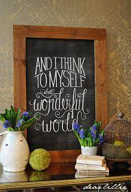 "DIY ""Wonderful World"" Chalkboard Print - Beneath My Heart (xmas messages chalkboard art) Chalk It Up, Chalk Art, Chalkboard Designs, Chalkboard Ideas, Chalkboard Sayings, Chalkboard Lettering, Framed Chalkboard, Chalkboard Printable, Kitchen Chalkboard"