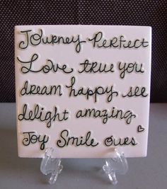 Love/Friendship/Dream Quote Table Coaster by DaisyDoodleTileShop, $6.00