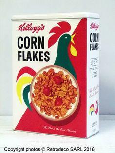 Boîte Corn Flakes Kellogg's GM, déco vintage, Nostalgic Art Nostalgic Art, Corn Flakes, Packaging, Creations, Deco, Vintage, Mood, History, Flakes