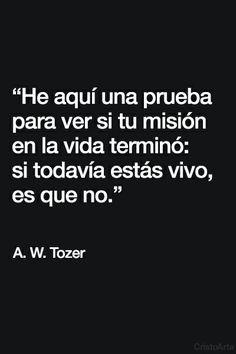 """""""He aquí una prueba para ver si tu misión en la vida terminó: si todavía estás vivo, es que no."""" - A.W. Tozer."""