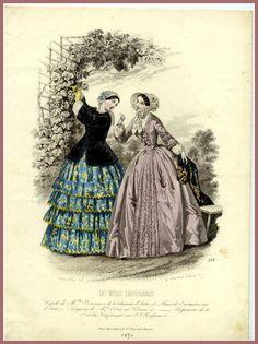 The Evolution of the Tiered Ruffle Gown – Threading Through Time 1850s Fashion, Victorian Fashion, Vintage Fashion, Historical Women, Historical Clothing, Fashion Prints, Fashion Art, Crinoline Dress, Vintage Dresses