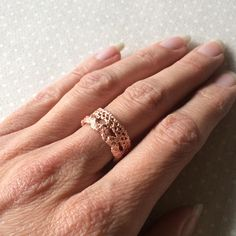 Handmade Vintage Lace Ring in Copper Electroformed