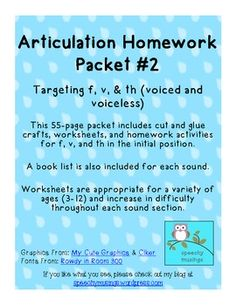 Articulation Homework Packet for f, v, and th $3.75
