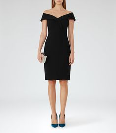 Haddi Black Off-The-Shoulder Dress - REISS : The haddi off-the-shoulder dress in black plays its part in our iconic dresses collection and is available to buy online at REISS.