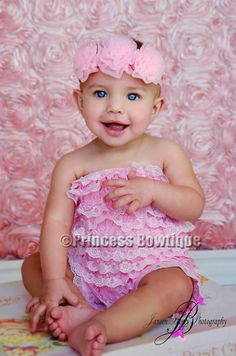 Baby Light Pink Petti Lace Romper for Babies and Toddler: Buy Baby Headbands & Hair Bows at Princess Bowtique