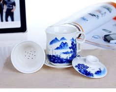 4 Piece Top Grade Chinese Landscape Ceramic Tea Cup Mug Office Cup with Infuser Lid and Saucer350ml * You can get additional details at the image link.Note:It is affiliate link to Amazon.