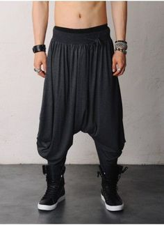 Harem pants men that create a sense of breadth harem pants men mens gigantic drop crotch skirt harem viscose silky pants at gmvqphh Urban Fashion, Mens Fashion, Fashion Outfits, Dope Fashion, Fashion Pants, Looks Style, My Style, Dope Style, Harem Pants Men
