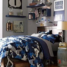 Classic and Wonderful Blue Camoulflage Quilt For Boys Bedroom Decoration