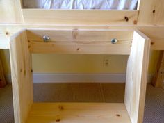 A DIY tutorial to build a kids clubhouse loft bed. Make an amazing loft space for kids that fits a twin size mattress. Playhouse Loft Bed, Loft Bed Plans, Loft Beds, Kids Clubhouse, Bed For Girls Room, Diy Bebe, Loft Spaces, Play Houses, Interior Design Living Room