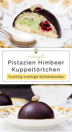 Leckeres Dessert und ein Highlight auf dem Kuchenteller: Pistazien-Törtchen (Kuppel) mit Himbeeren und feiner Schokoladen-Decke. Rezept zum Nachbacken…