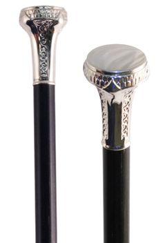 Patterned Silver Plate Knob Walking Stick - Stick & Cane Shop