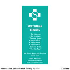 Shop Veterinarian Services rack card created by Naokko. Create Your Own Card, Create Yourself, Pet Clinic, Rack Card, Street Names, Landscape Prints, Promote Your Business, Clean Design, Wedding Programs