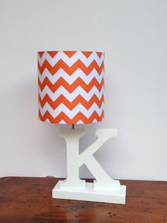 Small Orange/White Chevron Drum Lamp Shade - Nursery, Girl's or Boy's Lamp Shade on Etsy, $25.00
