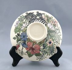 mishima sgraffito porcelain bowl pottery bowl botanical soup bowl Wheel thrown Hand painted and carved flowers plate Rose