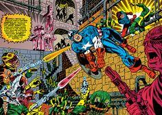 Captain America & Bucky vs Hydra by Jim Steranko