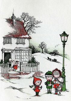 christmas street scene - Joan walsh Anglund