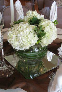 centerpiece green hydrangea white berries by anderson.florist, via Flickr