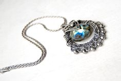 Handmade Labradorite pendant, sterling silver, oxidized, wire wrapped
