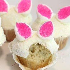 Bunny ear cupcakes made with fuzzy coconut are a sweet and adorable way to welcome spring.