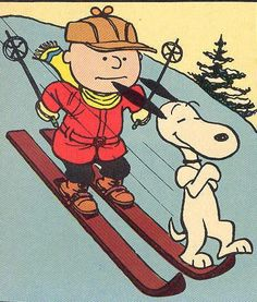 Charlie Brown and Snoopy  skiing