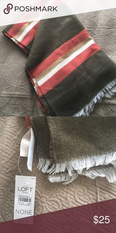 LOFT Striped Blanket Scarf LOFT // NWT // White + Khaki Green + Orange // 67% Acrylic + 33% Polyester // Very Soft! LOFT Accessories Scarves & Wraps