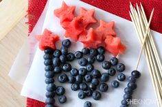 For Rock Star party - maybe do a skewer with a star at the top and blueberries or grapes all the way up and use as centerpieces to look like shooting stars??