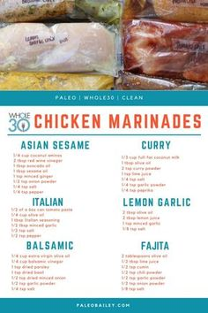 6 Compliant DIY Freezer Chicken Marinades - Whole Ki.- 6 Compliant DIY Freezer Chicken Marinades – Whole Kitchen Sink 6 Compliant DIY Freezer Chicken Marinades - Whole Chicken Marinade, Chicken Marinade Recipes, Healthy Chicken Marinades, Homemade Marinades For Chicken, Marinade Sauce, Chicken Breast Marinades, Italian Dressing Chicken Marinade, Overnight Chicken Marinade, Seasoning For Chicken